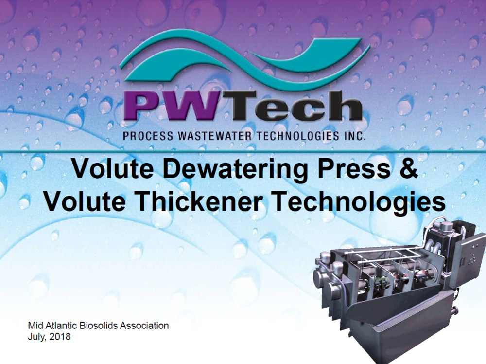 Volute Dewatering Press & Volute Thickener Technologies | Process Wastewater Technologies