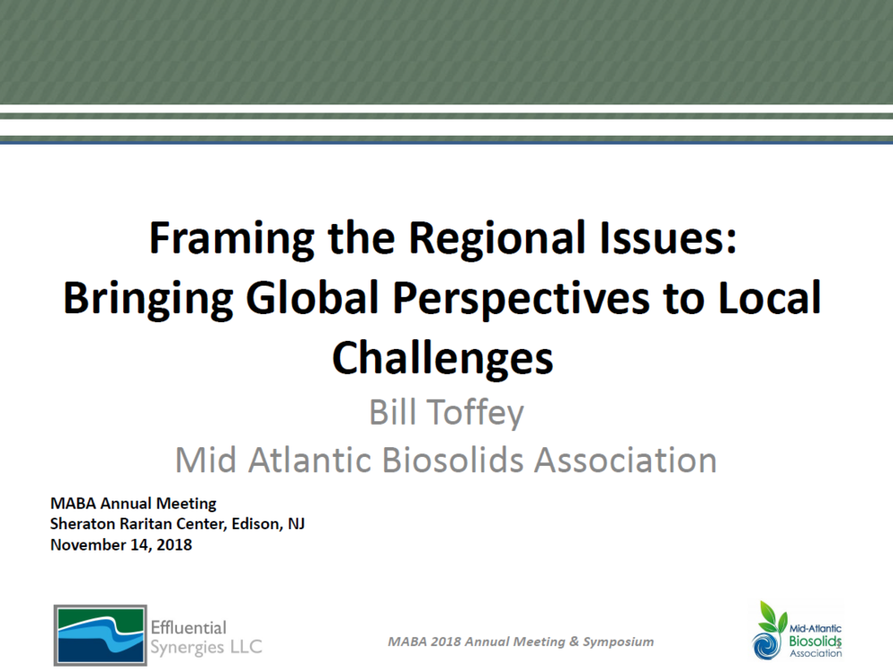Framing the Regional Issues: Bringing Global Perspectives to Local Challenges   Bill Toffey, MABA