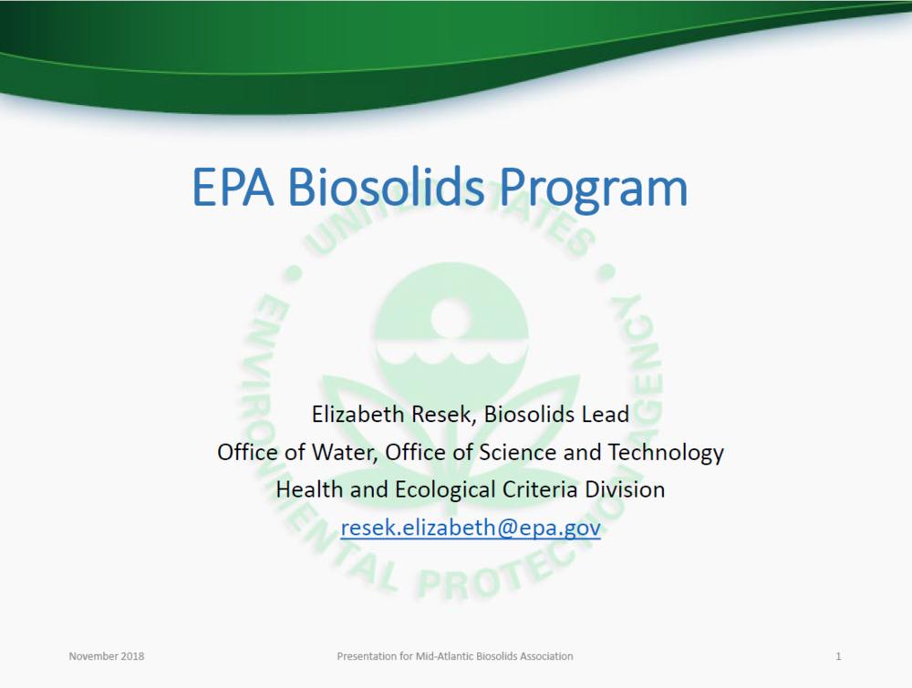 EPA Biosolids Program   Elizabeth Resek, EPA