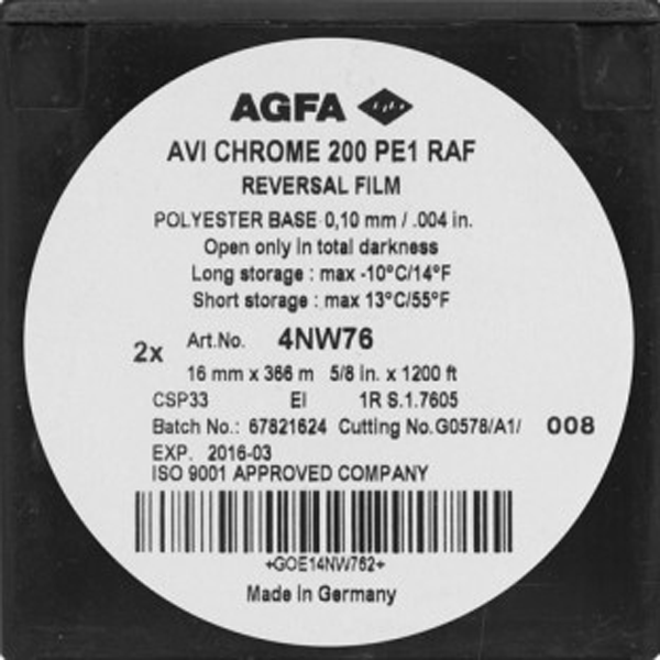 AGFA AVI CHROME 200D COLOR REVERSAL 16MM $40 - 100ft DAYLIGHT SPOOL CURRENTLY OUT OF STOCK