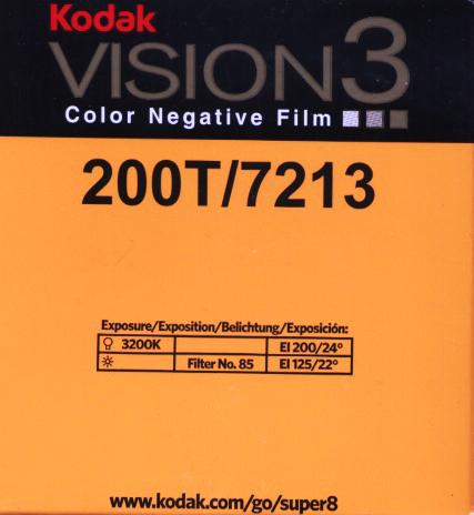 VISION 3 200T/7213 COLOR NEGATIVE SUPER 8MM FILM $26.00 - 50 ft Cartridge