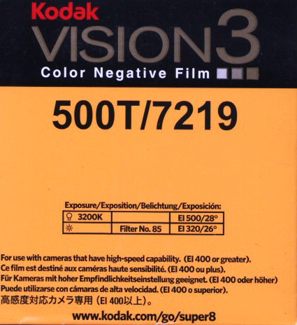 VISION 3 500T/7219 COLOR NEGATIVE SUPER 8MM FILM $26.00 - 50ft SUPER 8 Cartridge