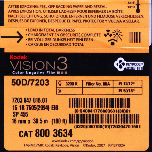 VISION 3 50D/7203 COLOR NEGATIVE 16MM $45.50 - 100ft DAYLIGHT SPOOL $177.00 - 400FT ON CORE