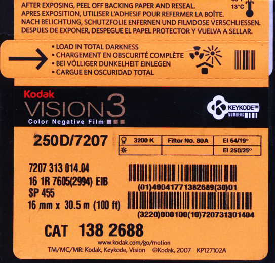 VISION 3 250D/7207 COLOR NEGATIVE 16MM $45.50 - 100ft DAYLIGHT SPOOL $177.00 - 400FT ON CORE