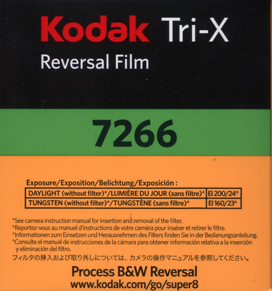 TRI-X 7266 B&W REVERSAL SUPER 8MM FILM $26.00 - 50ft Cartridge