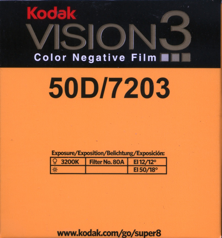 VISION 3 50D/7203   COLOR NEGATIVE SUPER 8MM FILM $30,00 - 50ft SUPER 8 Cartridge