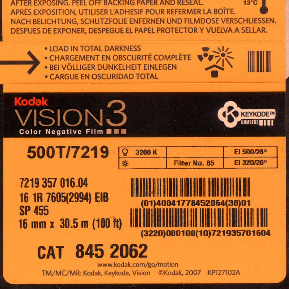 VISION 3 500T/7219 COLOR NEGATIVE 16MM $45.50- 100ft DAYLIGHT SPOOL $177.00 - 400FT ON CORE