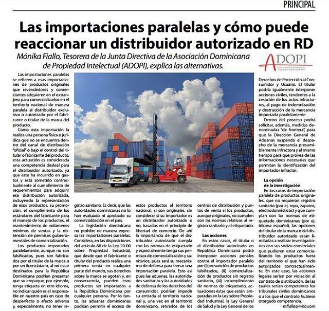 """""""Las importaciones paralelas y cómo puede reaccionar un distribuidor autorizado en RD"""". Publicación disponible en periódico El Mercantil."""
