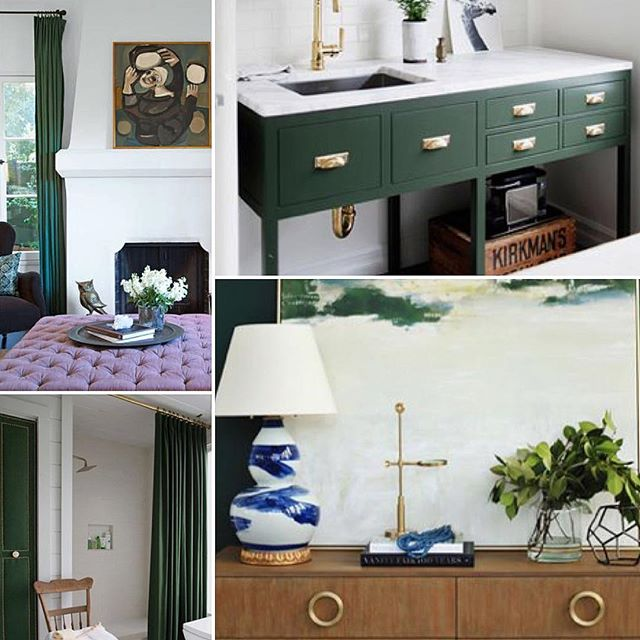 I don't know about you but I'm crushing hard on this dark hunter green color for fall. Head over to my Pinterest page to see more inspiration like these above. ✨ Direct link in my profile 👉🏻@lindseybrookedesign ✨ What colors or trends are you loving for our new Fall season??