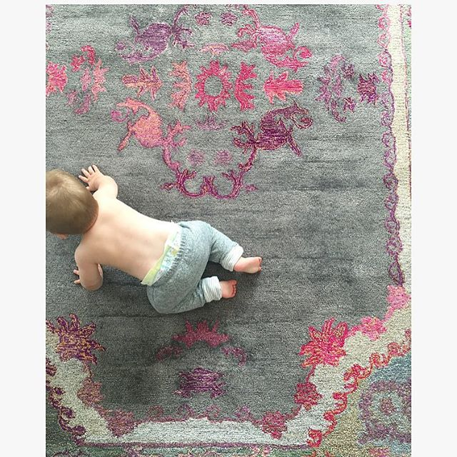 Loved my little assistant today. Beau was checking out the quality of this gorgeous rug for my new client. However she doesn't even know she's my client because the room makeover is a compete surprise from her parents! For the past two weeks we've been scheming and planning and the big install is happening this Monday! I feel like I'm in a HGTV show...How fast can I flip a room??? Stay tuned to find out! #pressureison