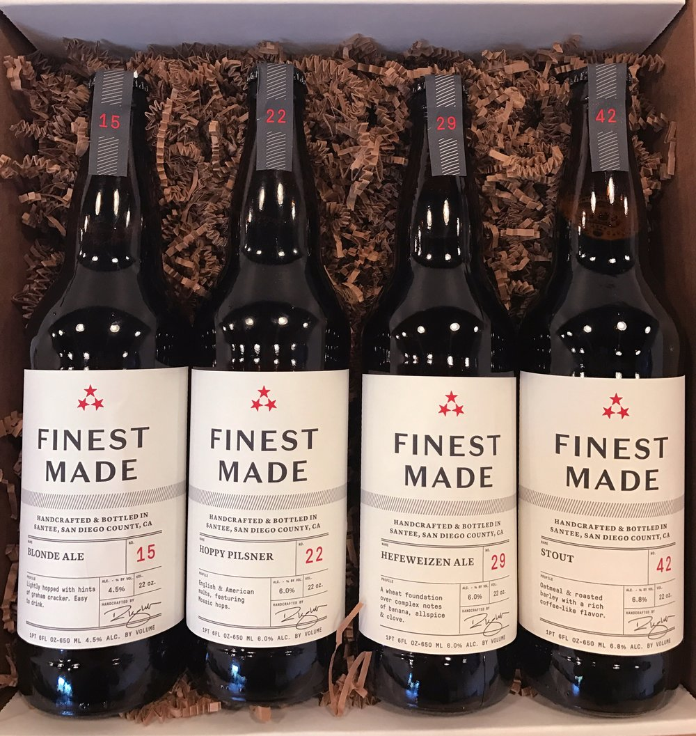 Finest Made Ales core line up of beers are intended to be enjoyed with family, friends and great food. Handcrafted and Bottled in Santee, San Diego County CA.