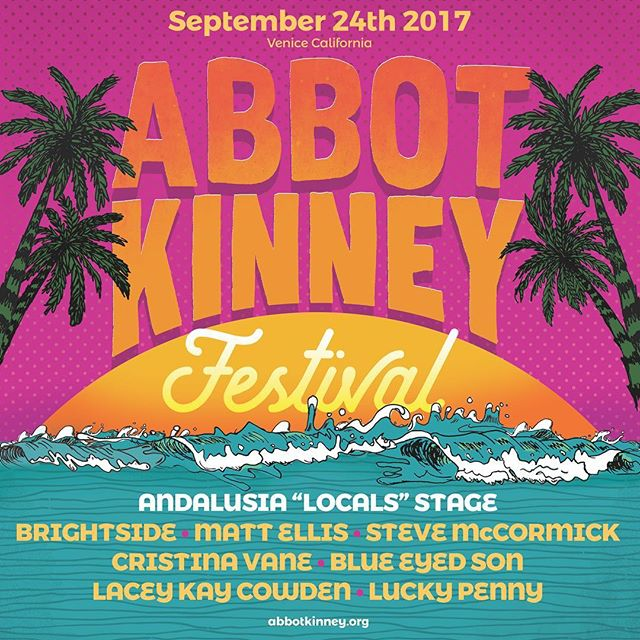 Just 1 short week till the @abbotkinneyfestival !!! We are honored to be a part of this years festival with some Local legends !! Join us for the free event Sunday Sept. 24th... we play at 5pm!!