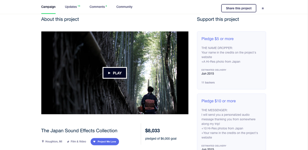A screenshot from the Kickstarter Campaign page.