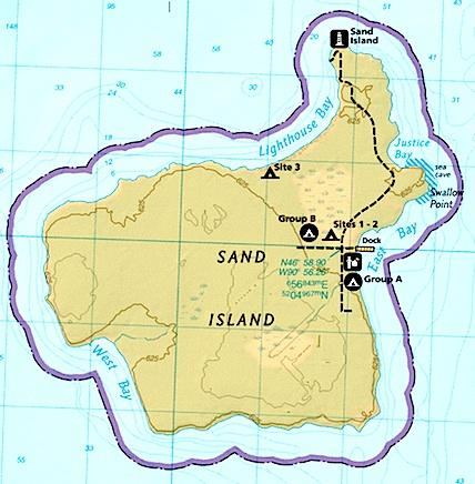 Map of Sand Island  (from   National Parks Traveler)