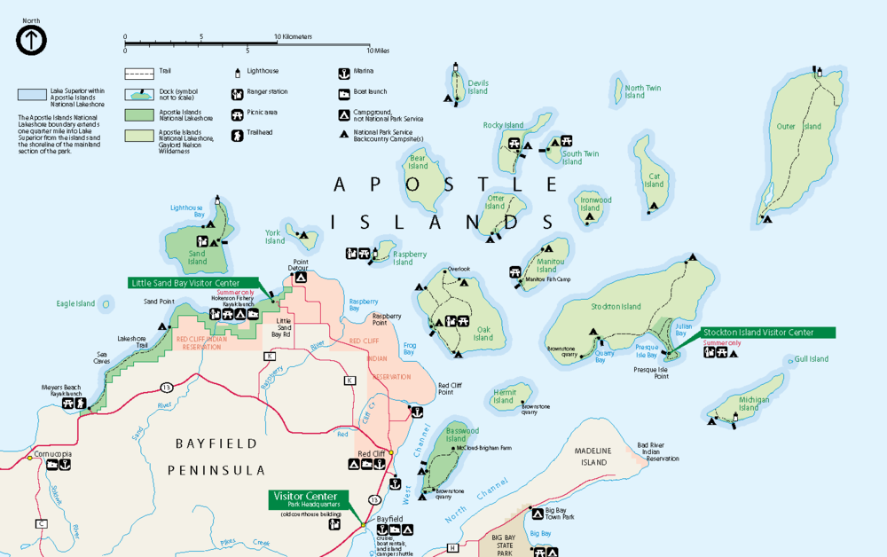 Close-Up Map of the Apostle Islands  (from the   National Park Service )