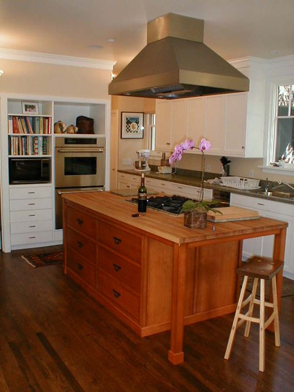 Berkeley kitchen with Douglas fir island with solid maple butcher block top