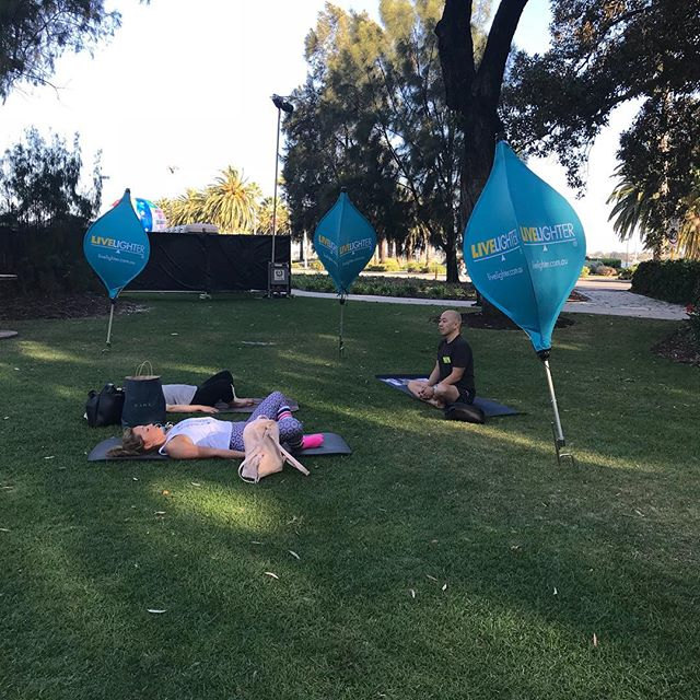 Our first workshop of the day, as part of our LiveLighter Workshop Series.  Come down and destress with a 45 minute workshop thanks to the lovely people of Yoga Australia.  Come down to The Supreme Court Gardens now!  #SFOL2017