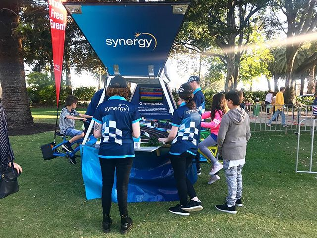 The Kids Corner powered by Synergy with their pedal-powered slot cars!