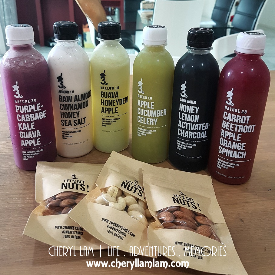 My 6 bottles of freshly pressed juices + some almond & cashew nuts to snack on
