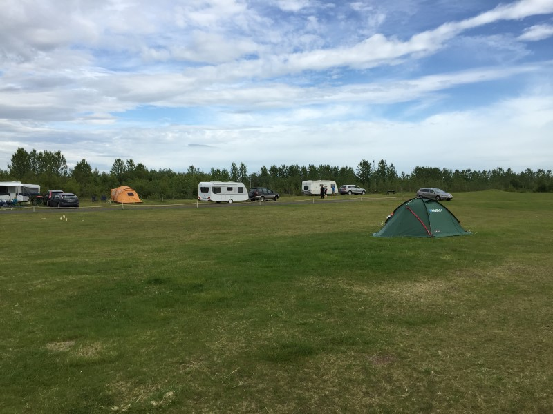 There are slots for you to park your camper van on the campsite ground. Photo: gesthus.is