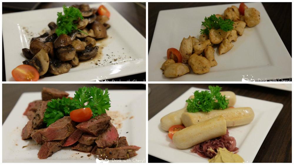 Sauteed mushroom ; sauteed chiken ; sauteed beef ; chicken jumbo sausage