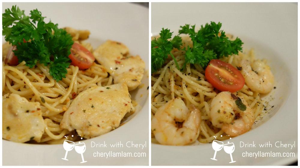 Aglio e Olio Spaghetti with chicken ; prawns