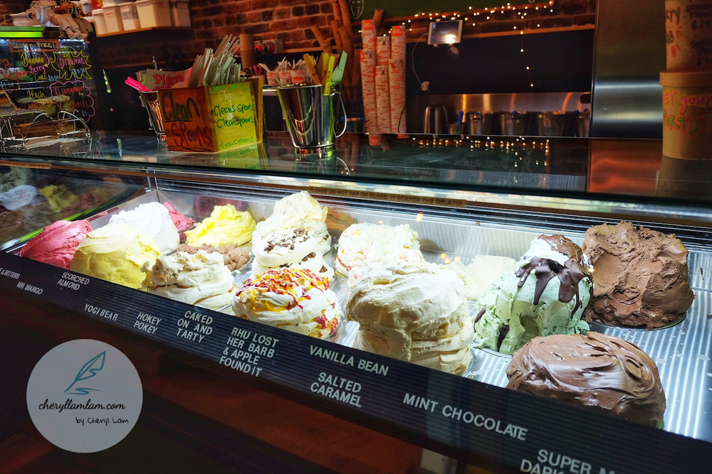 Spread of ice cream at 'Rollickin' Gelato' at New Regent Street, Christchurch.