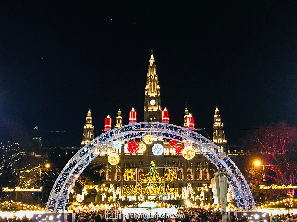Visited Christmas market after dinner! Location : Rathausplatz - only available in December.