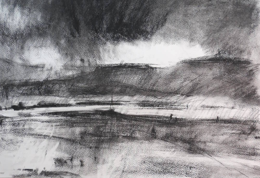 Charcoal drawing ( Scotland) , Charcoal on Paper, 76 x 56 cm, £720  Enquires:   olia@luminairearts.co.uk