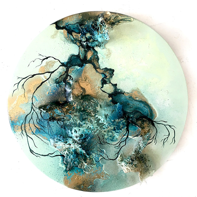 Spinning II , Mixed media on a turning wood plate, 39 cm in diameter, £730.