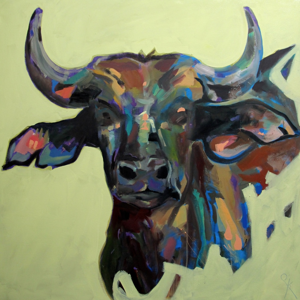 Buffalo Portrait , Oil on Canvas, 100 x 100 cm, £1980.