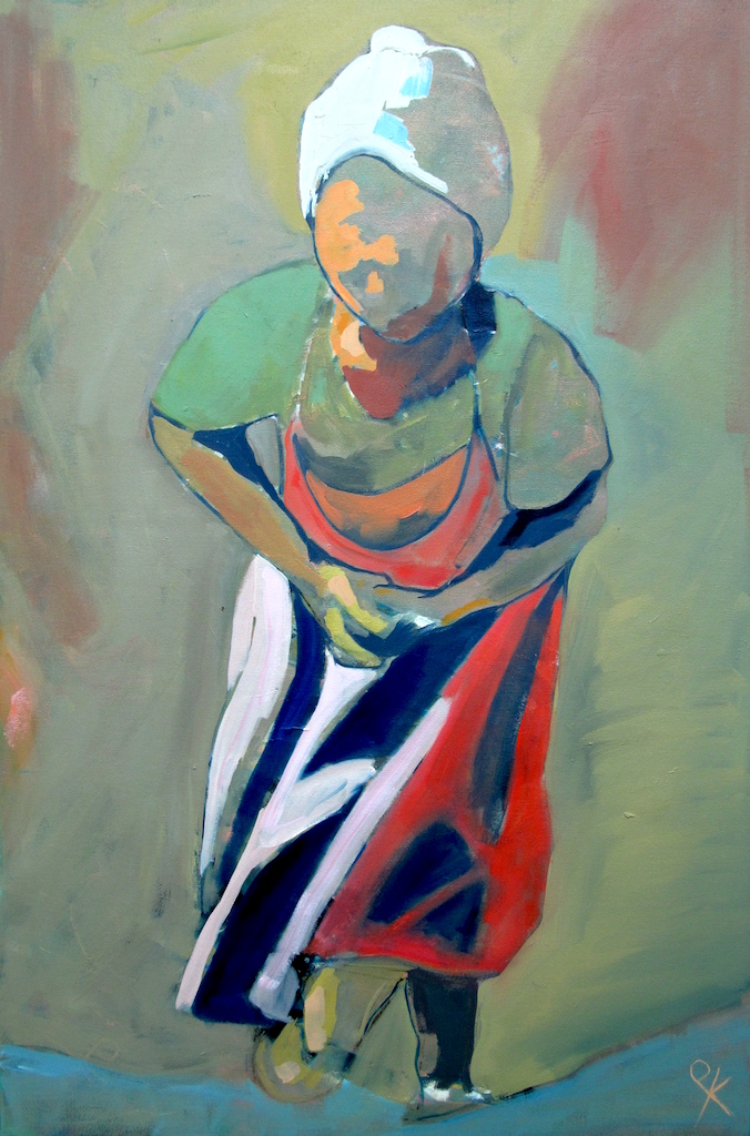 Girl in the Red Dress , Oil on Canvas, 60 x 90 cm, £1320.