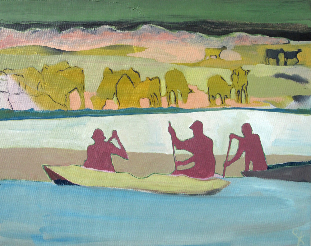 Three Fisherman , Oil on Canvas, 41 x 33cm, £660.