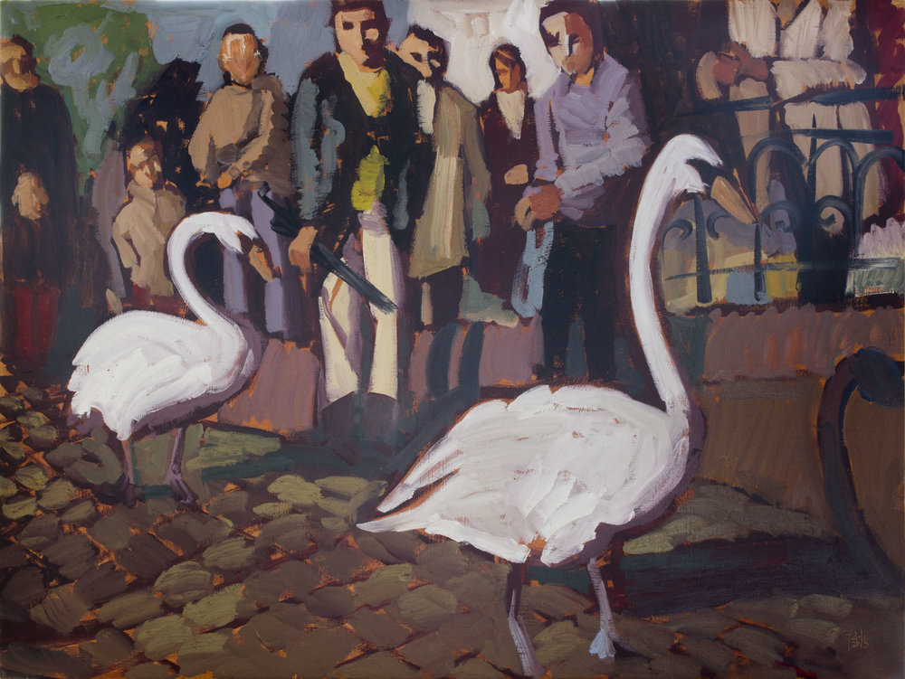 March of the Swans,  2015, Oil on Wood, 60 x 45 cm, £1070.