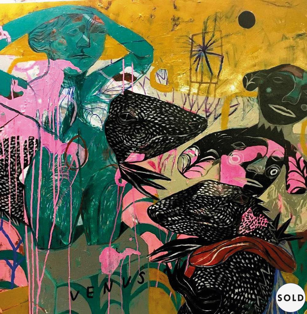 Venus , Acrylic on Canvas, 120 x 120 cm, £3300  Enquires:  olia@luminairearts.co.uk