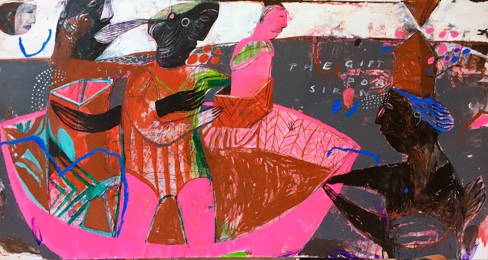 GIft For Siren, Acrylic on Canvas, 150 x 80 cm, £4363  Enquires:  olia@luminairearts.co.uk