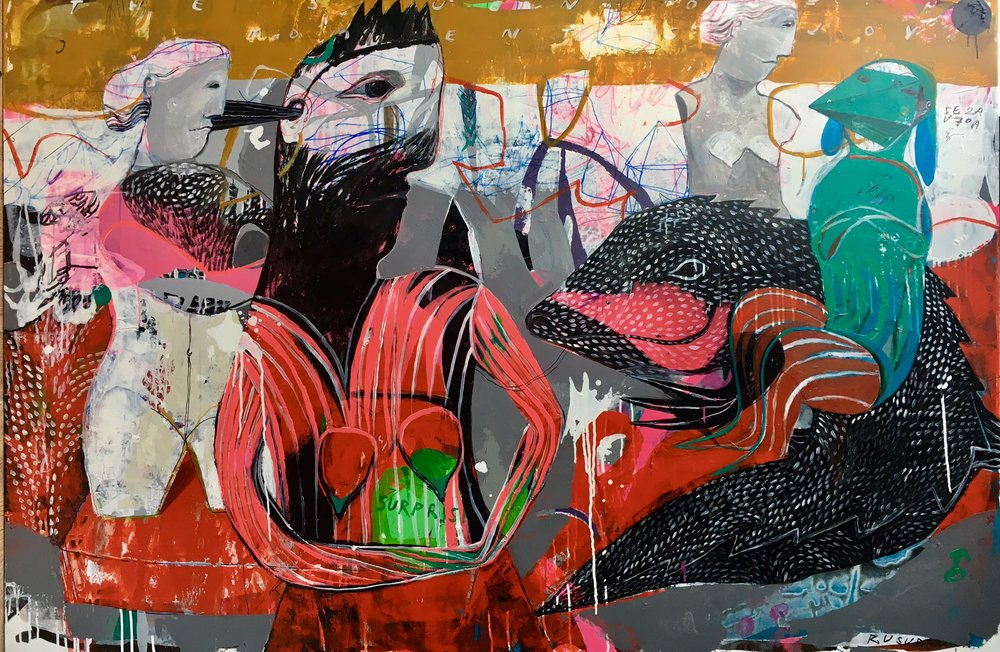 She Produced Her Own Body, Acrylic on Canvas, 120 x 180 cm, £7504  Enquires:  olia@luminairearts.co.uk