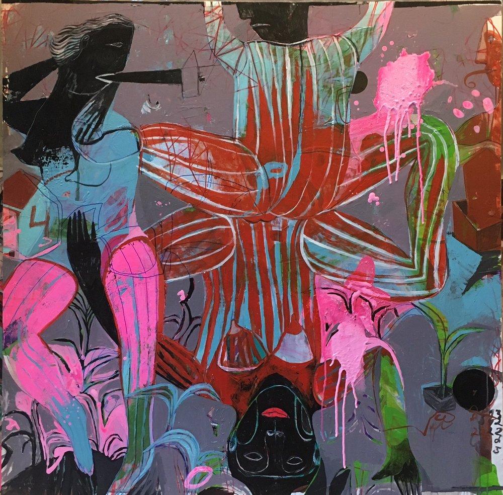 Maharajah's Love , Acrylic on Canvas, 120 x 120 cm, £3489  Enquires:  olia@luminairearts.co.uk