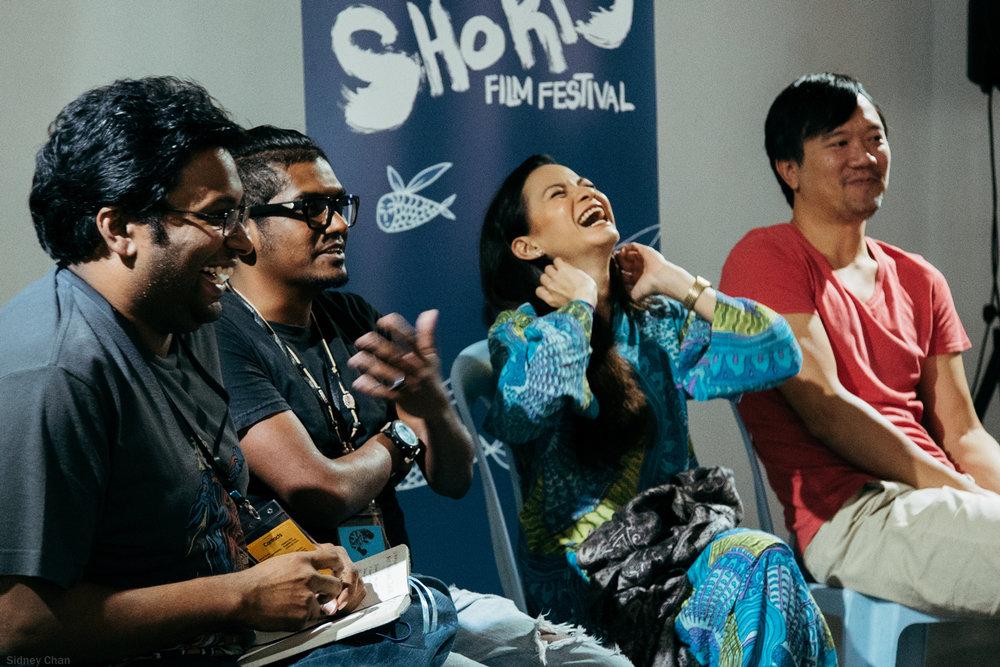 Panel with the jury members of the Next New Wave Competition, Shanjhey Kumar Perumal, Sharifah Amani and Aditya Assarat, moderated by Umapagan.
