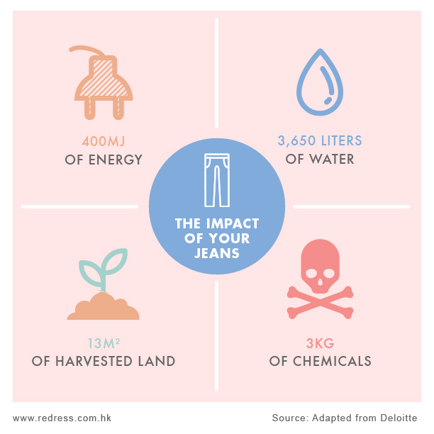13m2 of land is required grow the cotton for just 1 pair of jeans. Every year, 2 billion jeans are produced that require precious arable land equivalent to almost 24 x Hong Kong just to make our jeans.