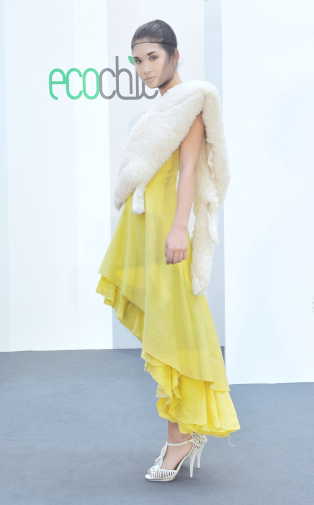 20.  Meiling Chen yellow dress (organic cotton:hemp) with faux sheepskin shrug.jpg