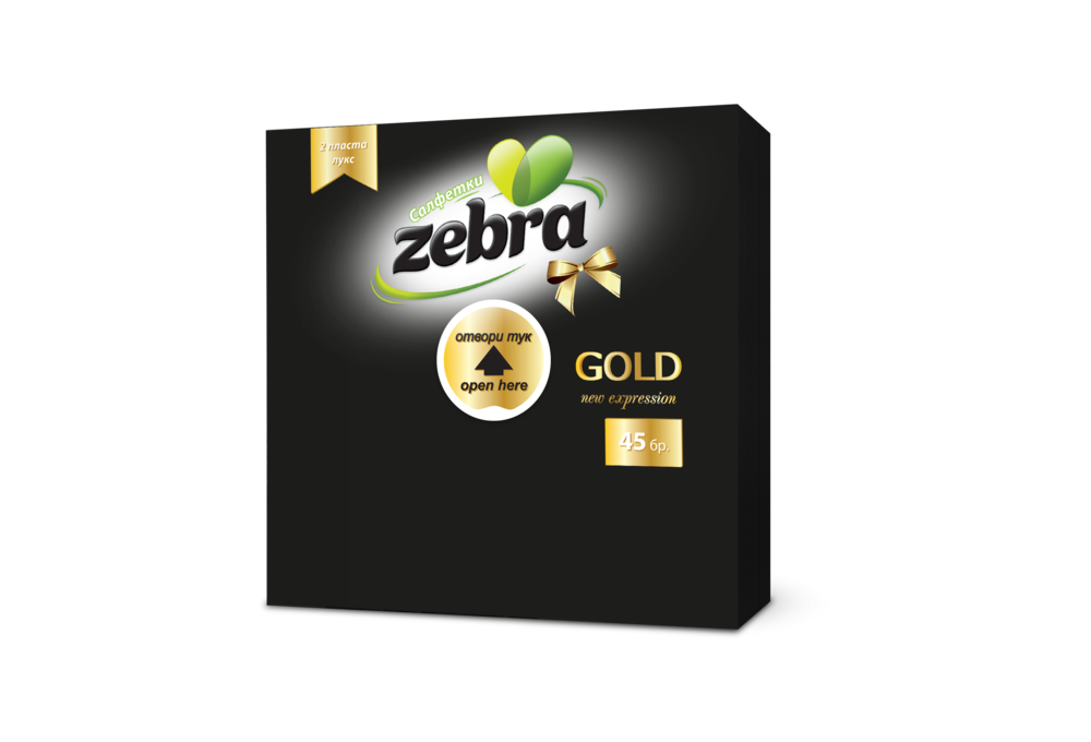Napkins Zebra Gold 45pcs Black 3800090303886.png