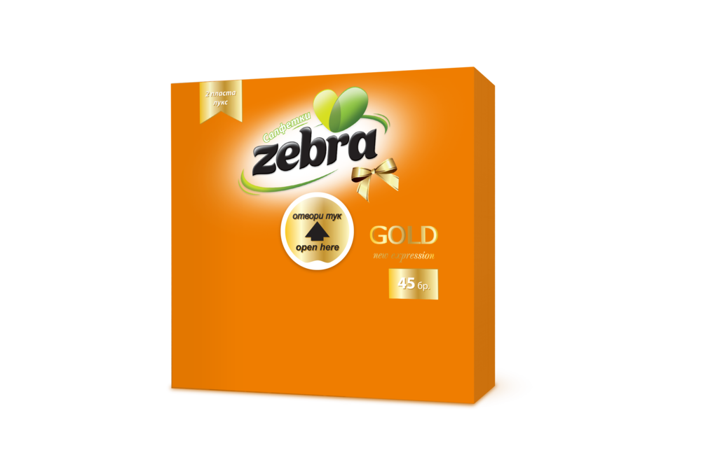 Napkins Zebra Gold 45pcs Orange 3800090303206.png