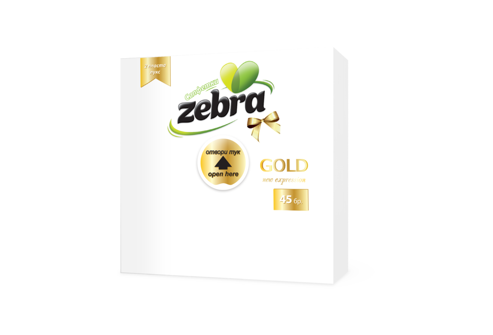 Napkins Zebra Gold 45pcs White 3800090300298.png