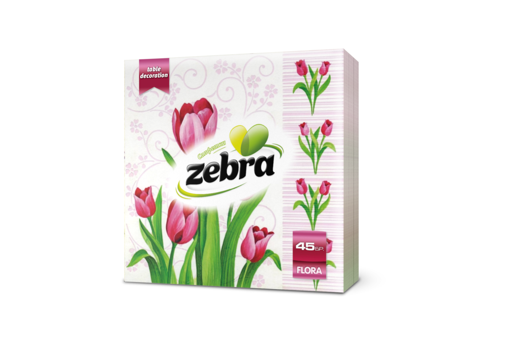Napkins Zebra Flora 45pcs pink 3800090303404.png