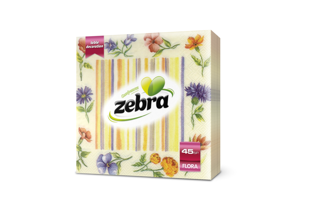 Napkins Zebra Flora 45pcs yellow 3800090303404.png