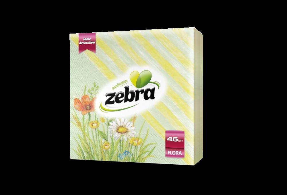 Napkins Zebra Flora 45pcs green 3800090303404.png