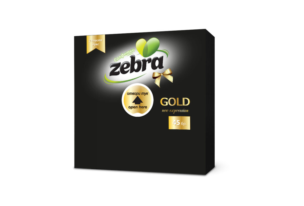 Napkins Zebra Gold 45pcs Black 3800090303886.png