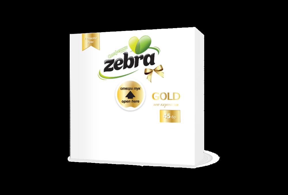 Napkins Zebra Gold 45pcs White 3800090300298.png