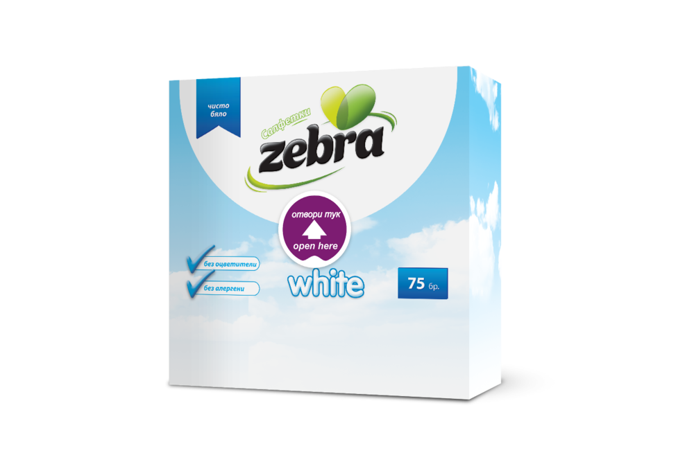 Napkins Zebra White 75pcs 3800090304135.png